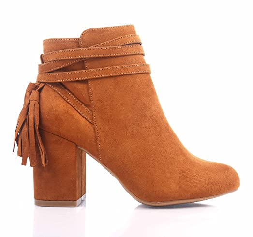 Cognac Color Sexy Ankle High Booties Side Zipper Faux Suede Womens Cuban Heels Boots