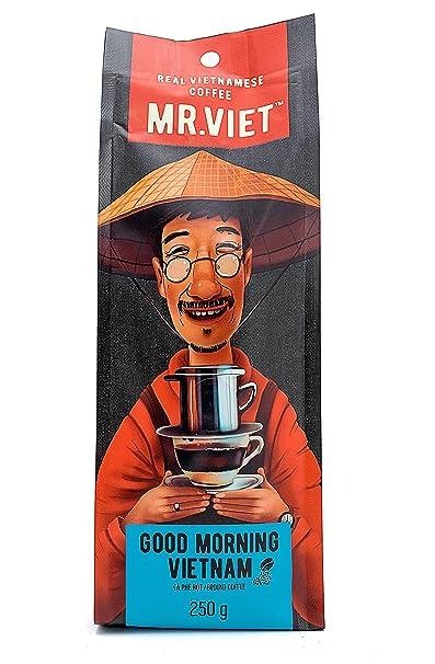 Mr Viet Good Morning Vietnam - Mezcla Fresca de Auténtico Café Fuerte Vietnamita Tostado Molido,