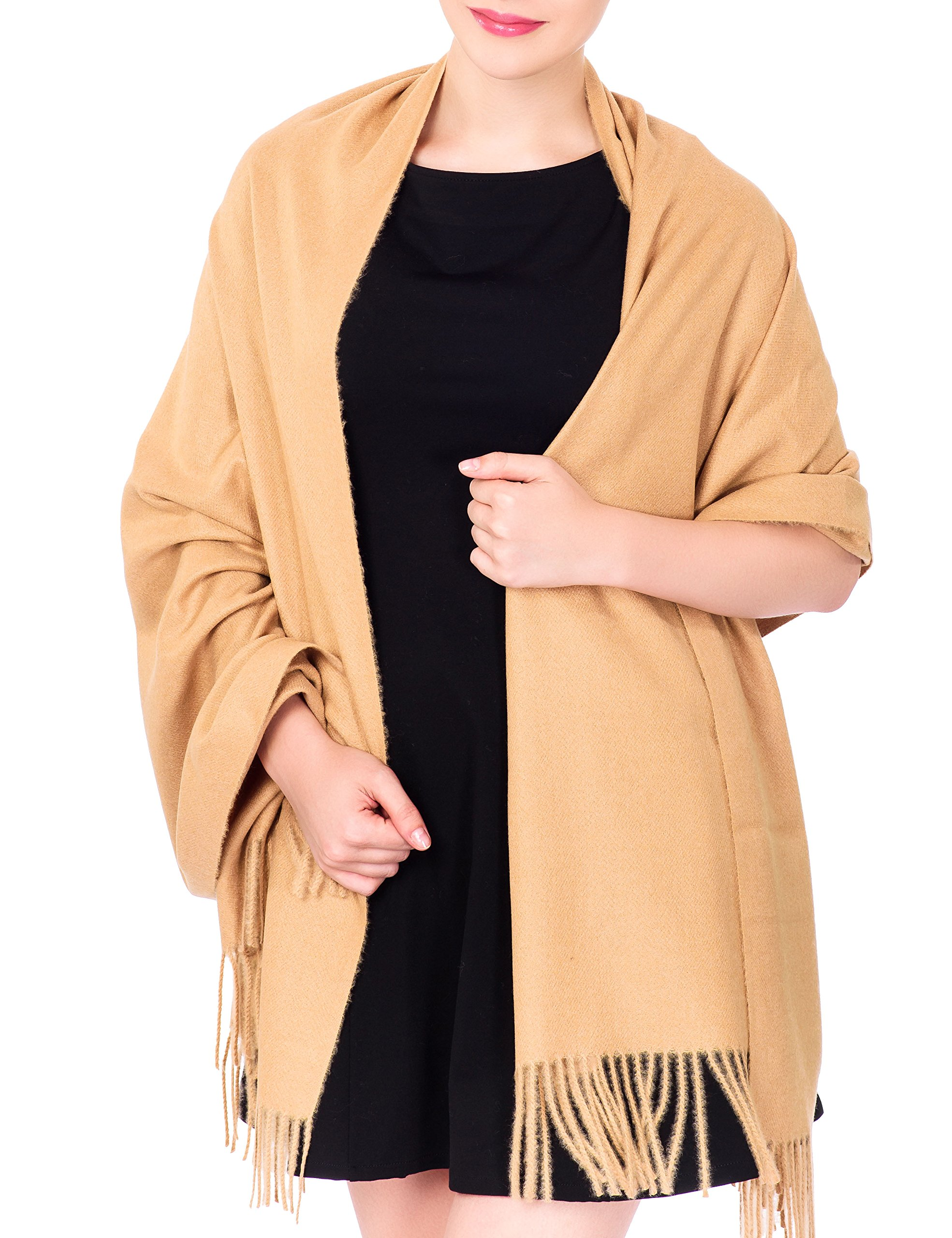 Ideal Gift for Women Cashmere Large Blanket Scarf Spring Evening Wrap Camel (Gift Box)