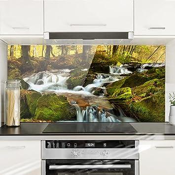Bilderwelten Spritzschutz Glas - Wasserfall herbstlicher Wald - Quer ...