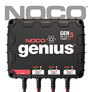 NOCO Genius GENM3 12 Amp 3-Bank Waterproof Smart On-Board Battery Charger