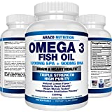 Omega 3 Fish Oil 2250mg | HIGH EPA 1200MG + DHA 900MG Triple Strength Burpless Capsules | 120 Pills | Arazo Nutrition