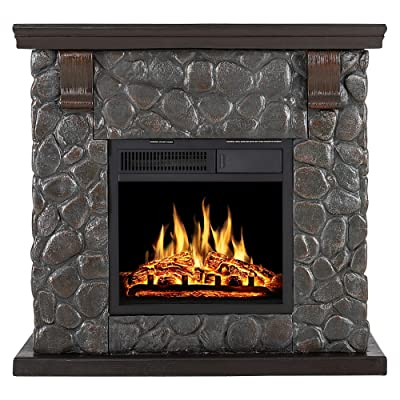 Buy Xbeauty Electric Mantel Fireplace Stone Retro Style Tv Stand Free Standing Electric Fireplace Adjustable Led Flame Remote Control 750w 1500w Round Brick Online In Hong Kong B08w25488c