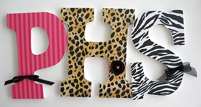 zebra and leopard custom wooden letters baby girl nursery decor animal print bedroom decorations