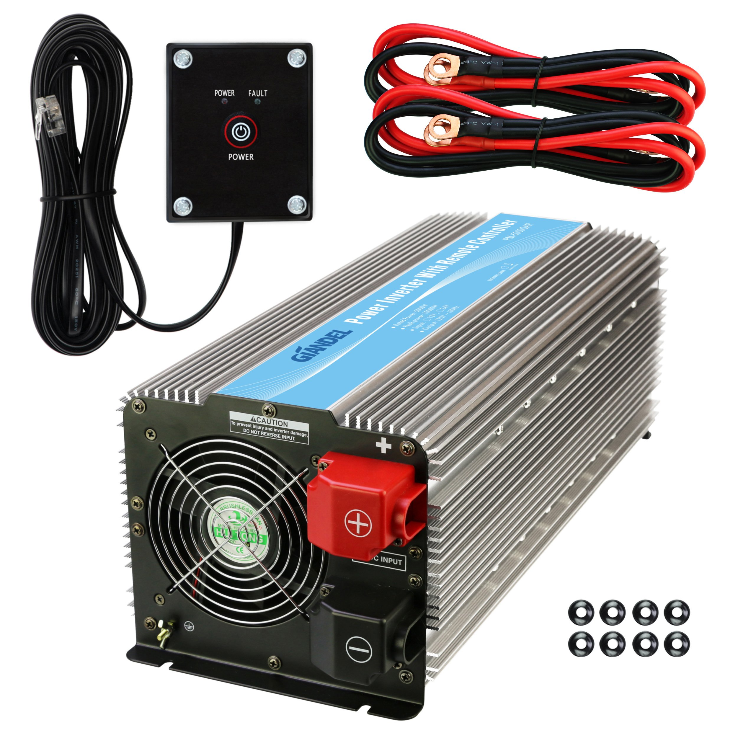 Giandel 5000W Heavy Duty Power Inverter 12V DC to 110V 120V AC with Remote Control and 4 AC Outlets & USB Port for RV Truck Boat