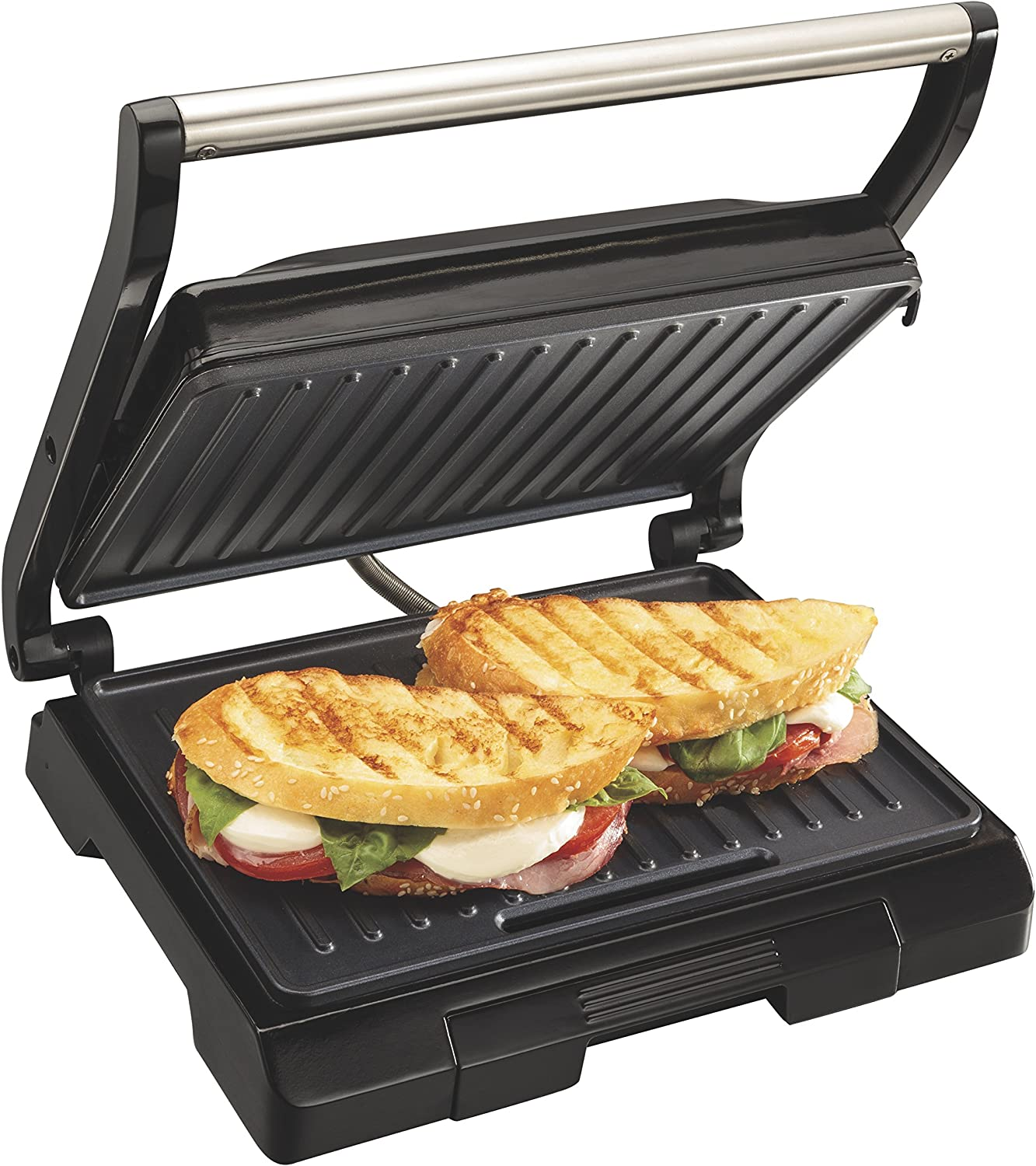Proctor Silex 4 Serving Panini Press, Sandwich Maker and Compact Indoor Grill, Upright Storage, Easy Clean Nonstick Grids, Black 25440