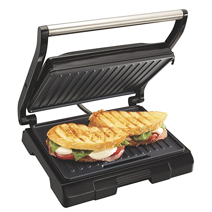 Proctor Silex 4 Serving Panini Press, Sandwich Maker and Compact Indoor Grill, Upright Storage, Easy Clean Nonstick Grids, Black (25440)