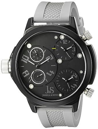 Amazon.com: Joshua & Sons Mens JS-40-GY Quartz Triple Time Zone Rubber Strap Watch: Watches