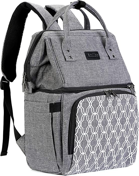 AmHoo Insulated Lunch Box Cooler Backpack Waterproof Leak-proof Lunch Bag Tote For Men Women Hiking Beach Picnic Trip with Strongest YKK Zipper Gray