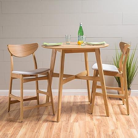 Helen Light Beige Fabric Oak Finish Counter Height Dining Set