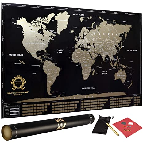Scratch Off World Map Poster.Amazon Com Scratch Off World Map Poster Xl Black And Gold