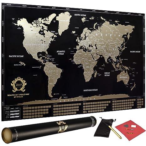 Black World Map Poster.Amazon Com Scratch Off World Map Poster Xl Black And Gold