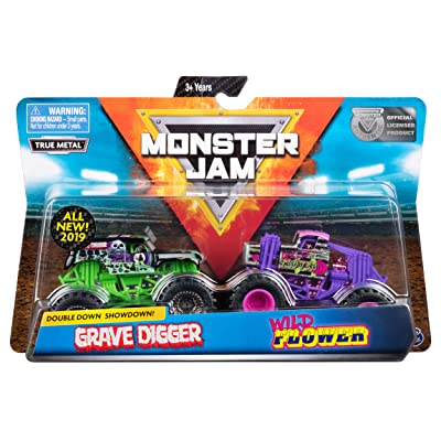 Monster Jam Official Grave Digger vs. Wild Flower Die-Cast Monster Trucks, 1:64 Scale, 2 Pack: Toys & Games