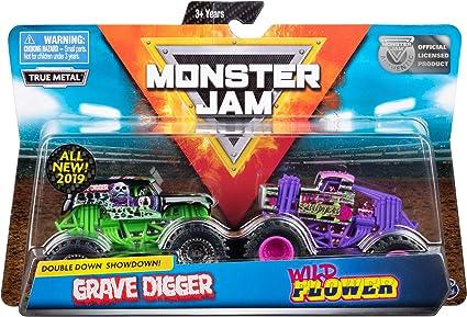 Amazon Com Monster Jam Official Grave Digger Vs Wild Flower Die Cast Monster Trucks 1 64 Scale 2 Pack Toys Games