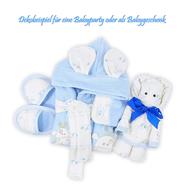 Bebessi - Juego de albornoz con zapatos y toalla de baño para bebés azul 0-6 Meses: Amazon.es: Ropa y accesorios