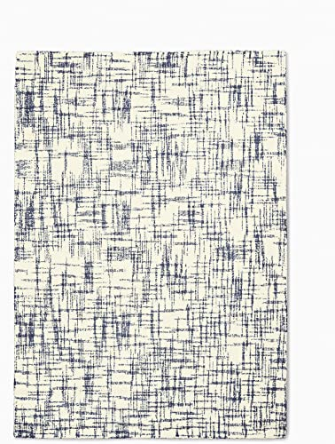 Calvin Klein Home Calvin Klein Tucson White and Navy Blue 5'x8' Area Rug 5'3″X7'5″ Ivory