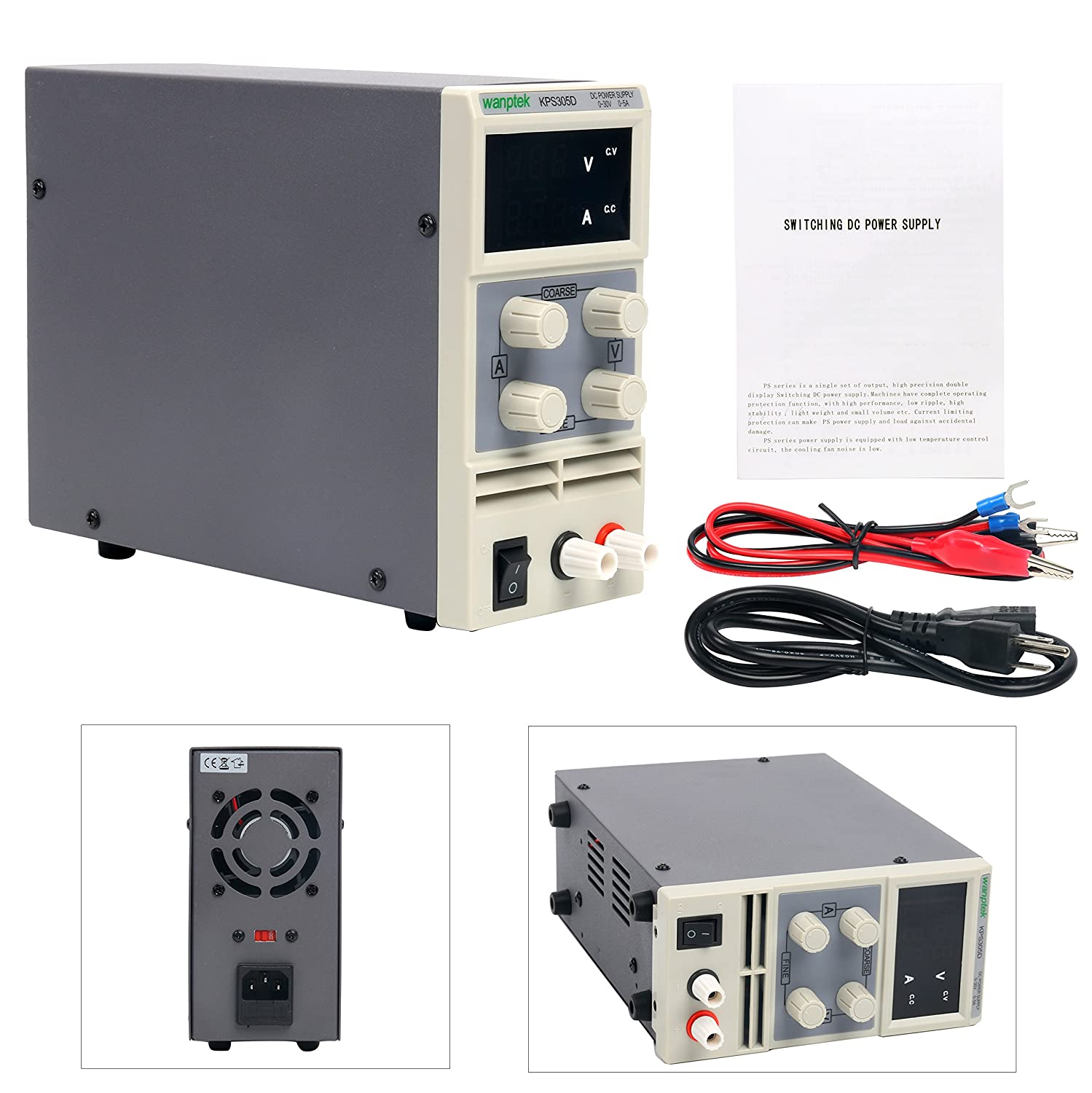 Dc Power Supply Variable Yaeccc Kps305d Adjustable Switching High Current Regulated Digital 0 30 V 5 A With Alligator Leads Us Cord