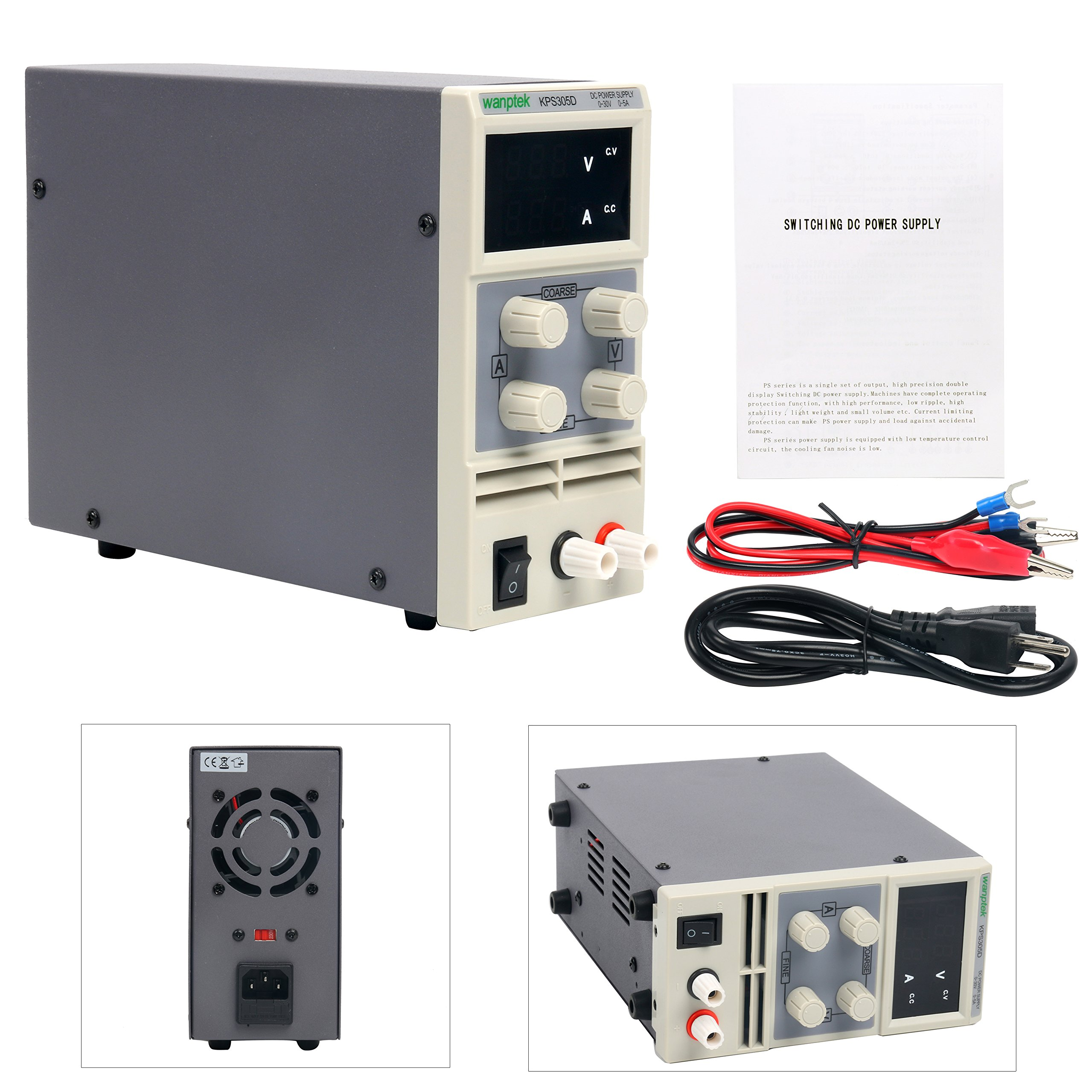 DC Power Supply Variable, YaeCCC WanpTek KPS305D Adjustable Switching Regulated Power Supply Digital, 0-30 V 0-5 A with Alligator Leads US Power Cord