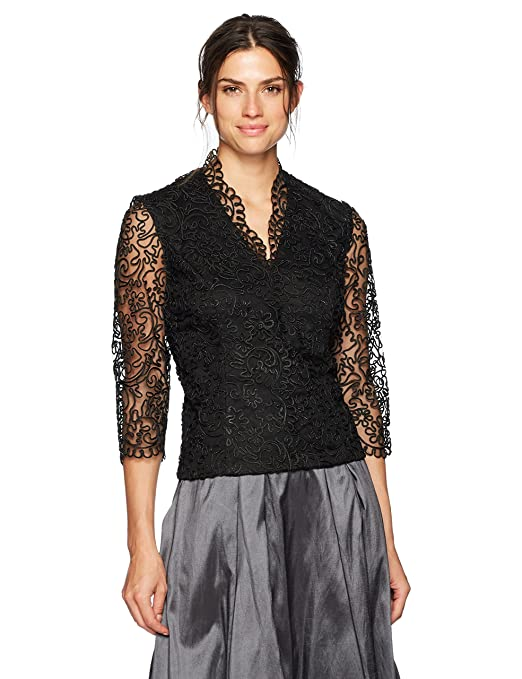 Vintage Evening Dresses and Formal Evening Gowns Alex Evenings Womens Embroidered Blouse with Scallop Detail $94.86 AT vintagedancer.com