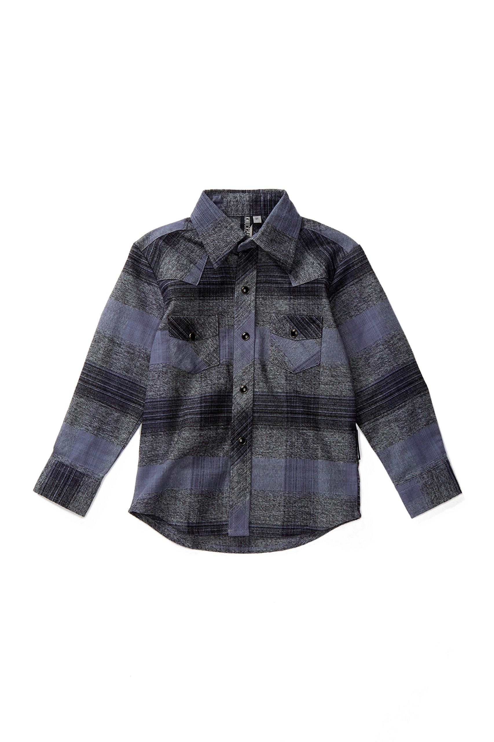 Knuckleheads Rockabilly Button Down Plaid Shirts (3 Yrs, Grey) by Born to Love (Image #1)