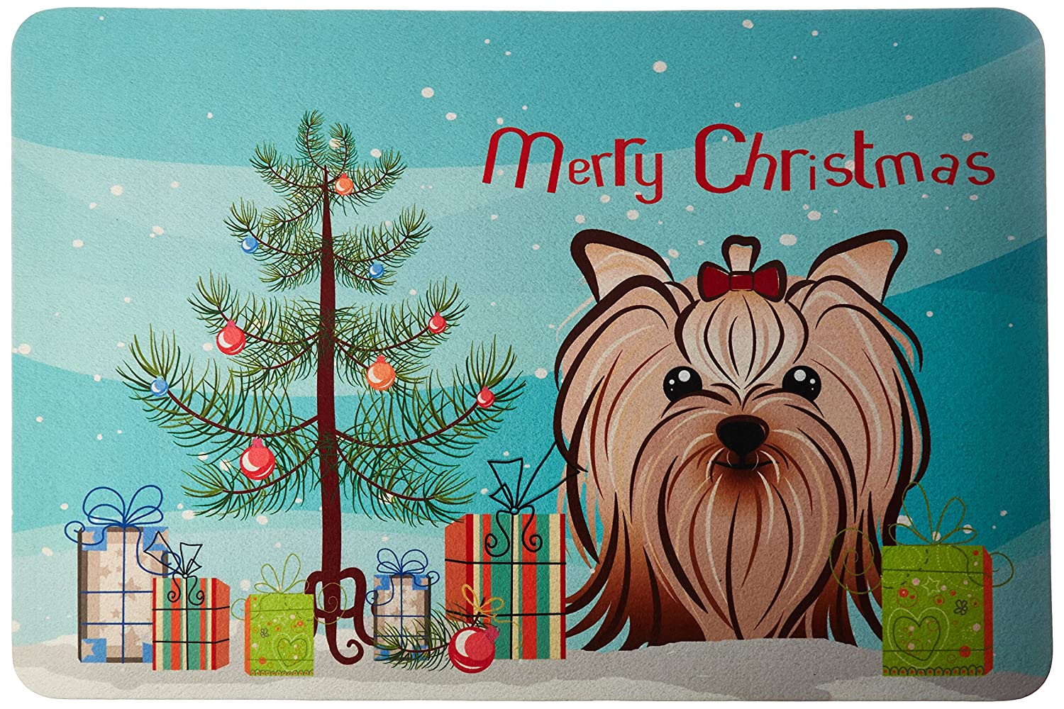 multicolor Carolines Treasures BB1576JCMT Christmas Tree and Yorkie Yorkishire Terrier Kitchen or Bath Mat 24x36 24H X 36W