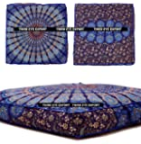 Third Eye Export - Indian Mandala Floor Pillow Square Ottoman Pouf Daybed Oversized Cushion Cover Cotton Seating Ottoman Poufs Dog / Pets Bed (Blue)