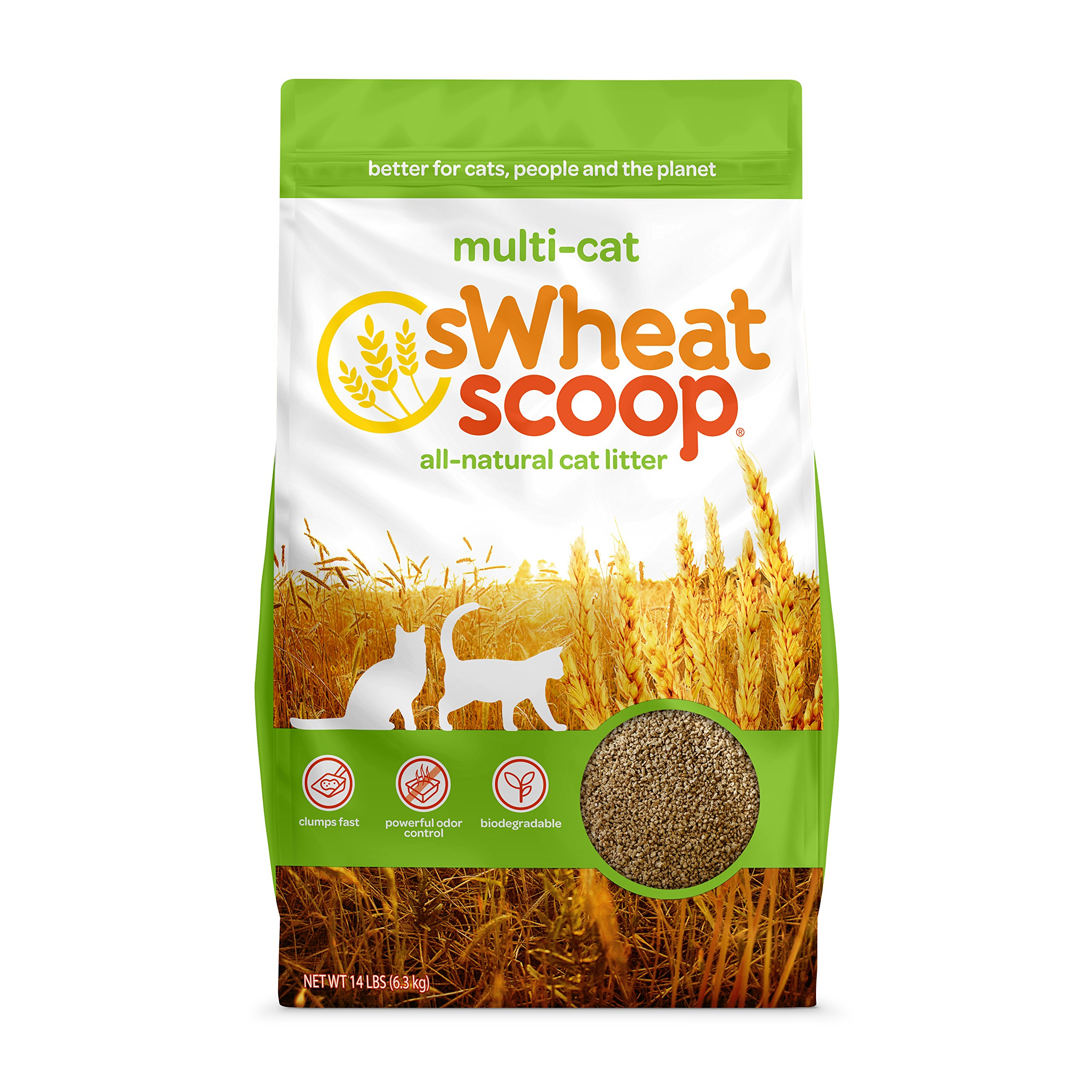sWheat Scoop Multi-Cat All-Natural Clumping Cat Litter, 14lb Bag by sWheat Scoop