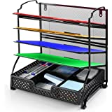 Simple Trending 5-Trays Mesh Desk File Organizer Vertical Document Letter Tray Wall File Holder with Plastic Drawer Organizer