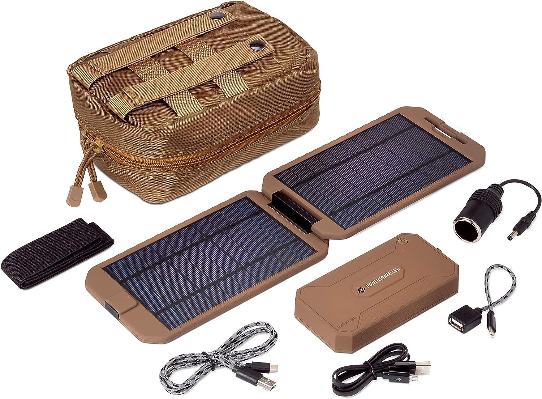 Portable Solar-Charger, Powertraveller Tactical Extreme, 12000mAh Quick-Charge Power-Bank, 12V DC, USB C, Splashproof/Dustproof External Battery Pack for Smartphones, Tablet & More