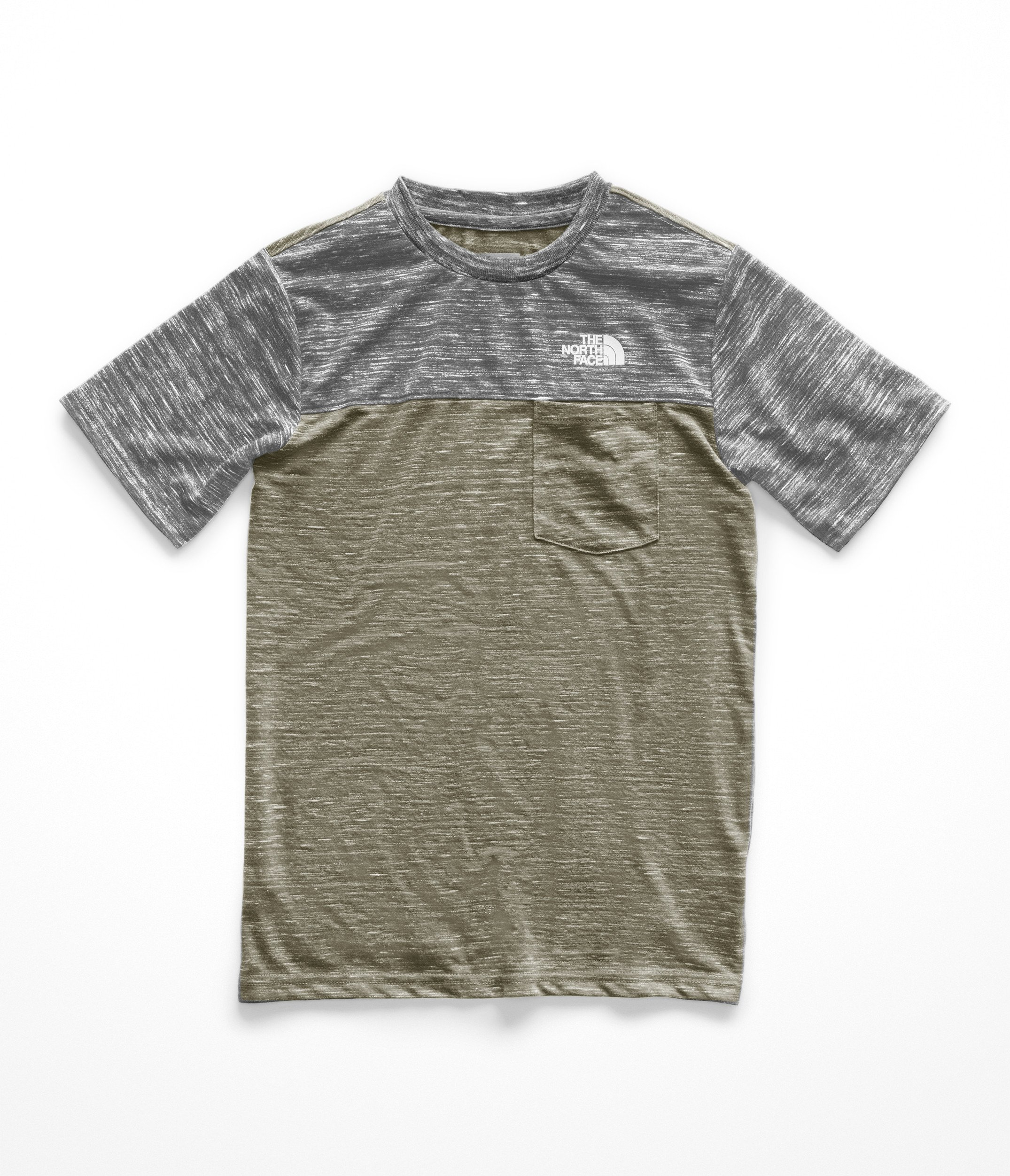 The North Face Kids Boy's Short Sleeve Pocket Tee (Little Kids/Big Kids) New Taupe Green Heather Small