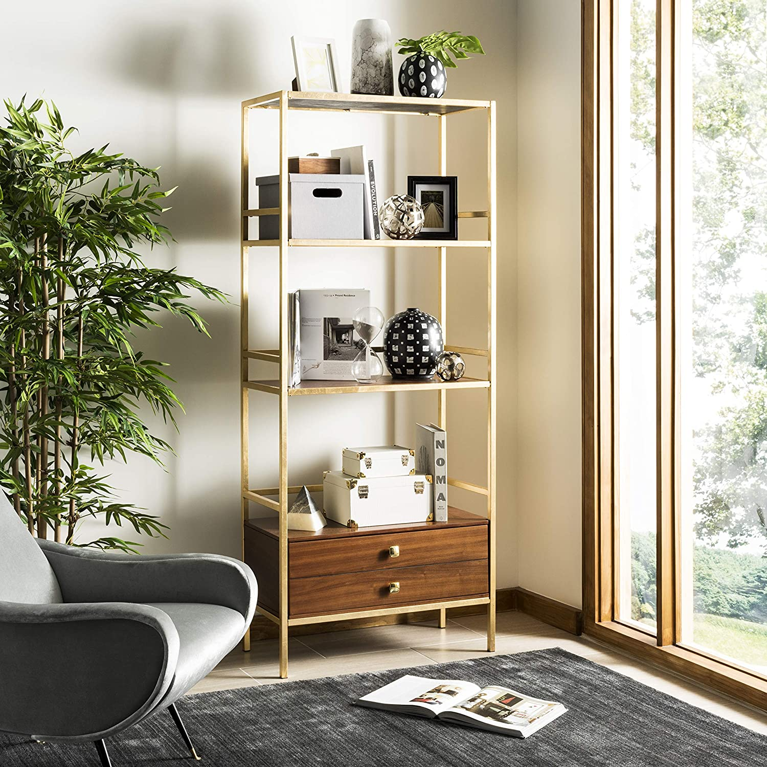 Safavieh Etg6205 A Home Collection Mateo 4 Tier 1 Drawer Etagere, Gold And Walnut by Safavieh