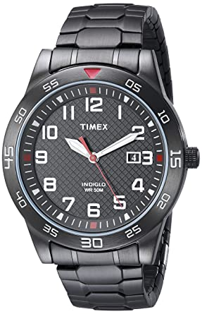 55816ed81bc0 Timex Men s TW2P61600 Fieldstone Way Black Stainless Steel Expansion Band  Watch