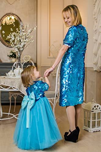 39b772f8927da Amazon.com: Mommy and Me Christmas dresses Blue sequin mother daughter matching  dresses blue sequin tutu, party dress, flower girl sequin dress Matching:  ...