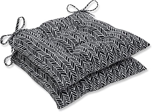 Pillow Perfect 609867 Outdoor/Indoor Herringbone Night Tufted Seat Cushions Square Back