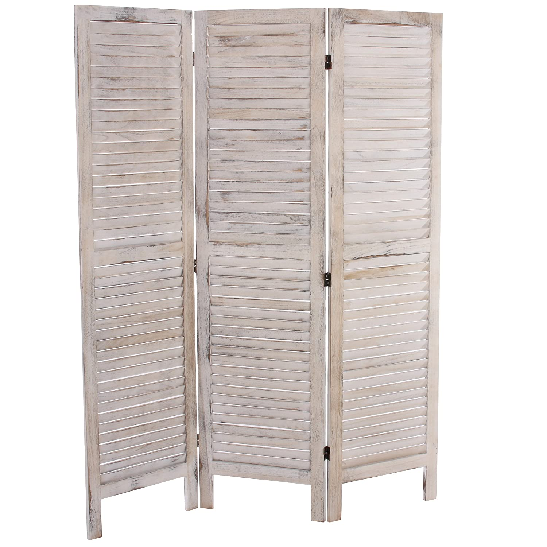 Raumteiler Paravent mendler paravent raumteiler 170x138x2cm shabby look vintage weiß