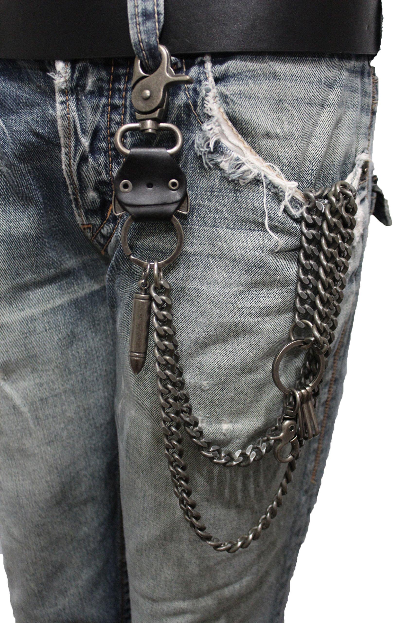 TFJ Men Wallet Chain Biker Fashion Metal Jeans Guns Bullets Charm Skull Rusty Silver