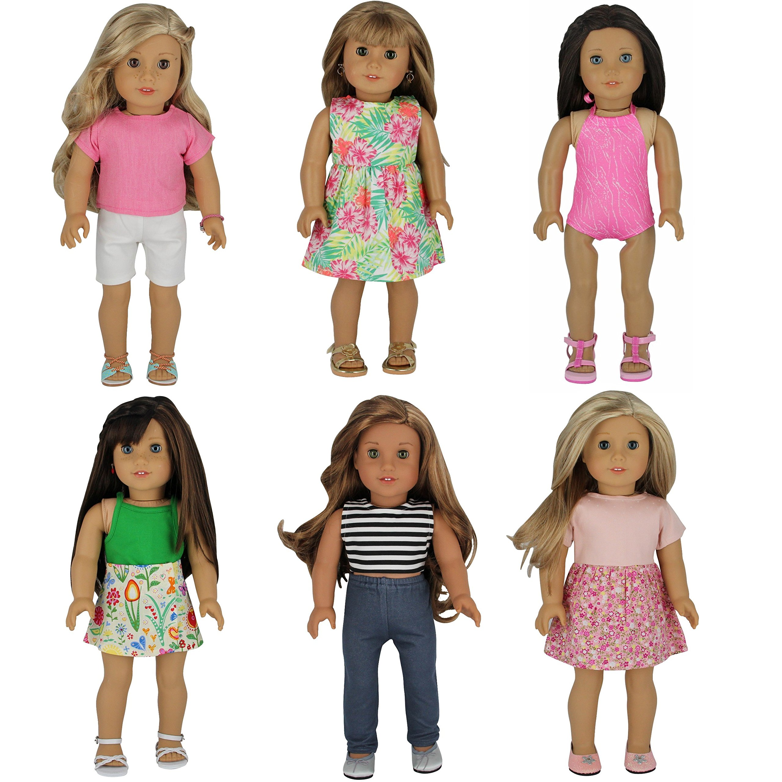 PZAS Toys American Girl Doll Clothes 18 inch - 6 Outfits Summer Doll Clothes for 18 inch Dolls
