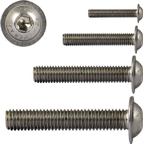 Flachkopfschrauben mit Flansch M6 x 50 mm mit Innensechsrund TX nach ISO 7380-2 aus Edelstahl A2 V2A D2D VPE: 10 St/ück Bundschraube