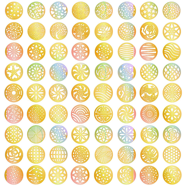 288 Pieces 72 Designs Gold Nail Vinyls Nail Stencil Sticker Sheets Set for Circular Hollow Nail Art Design, 24 Sheets eBoot
