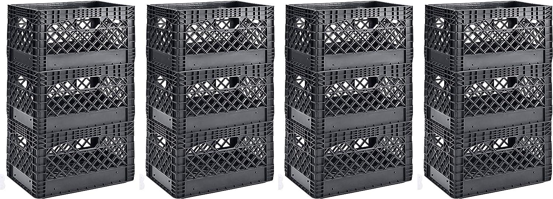Muscle Rack PMK24QTB-3 24 Quart Black Heavy Duty Rectangular Stackable Dairy Milk Crates, 11 Height, 19 Width (4 X Pack of 3)