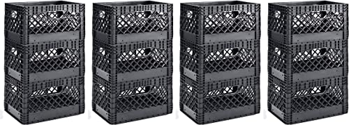 Muscle Rack PMK24QTB-3 24 Quart Black Heavy Duty Rectangular Stackable Dairy Milk Crates, 11 Height, 19 Width 4 X Pack of 3