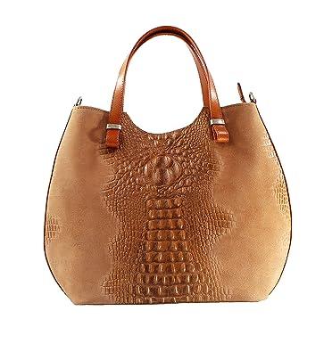 8f2b36840e OH MY BAG Sac à main femme en cuir véritable et daim façon croco camel