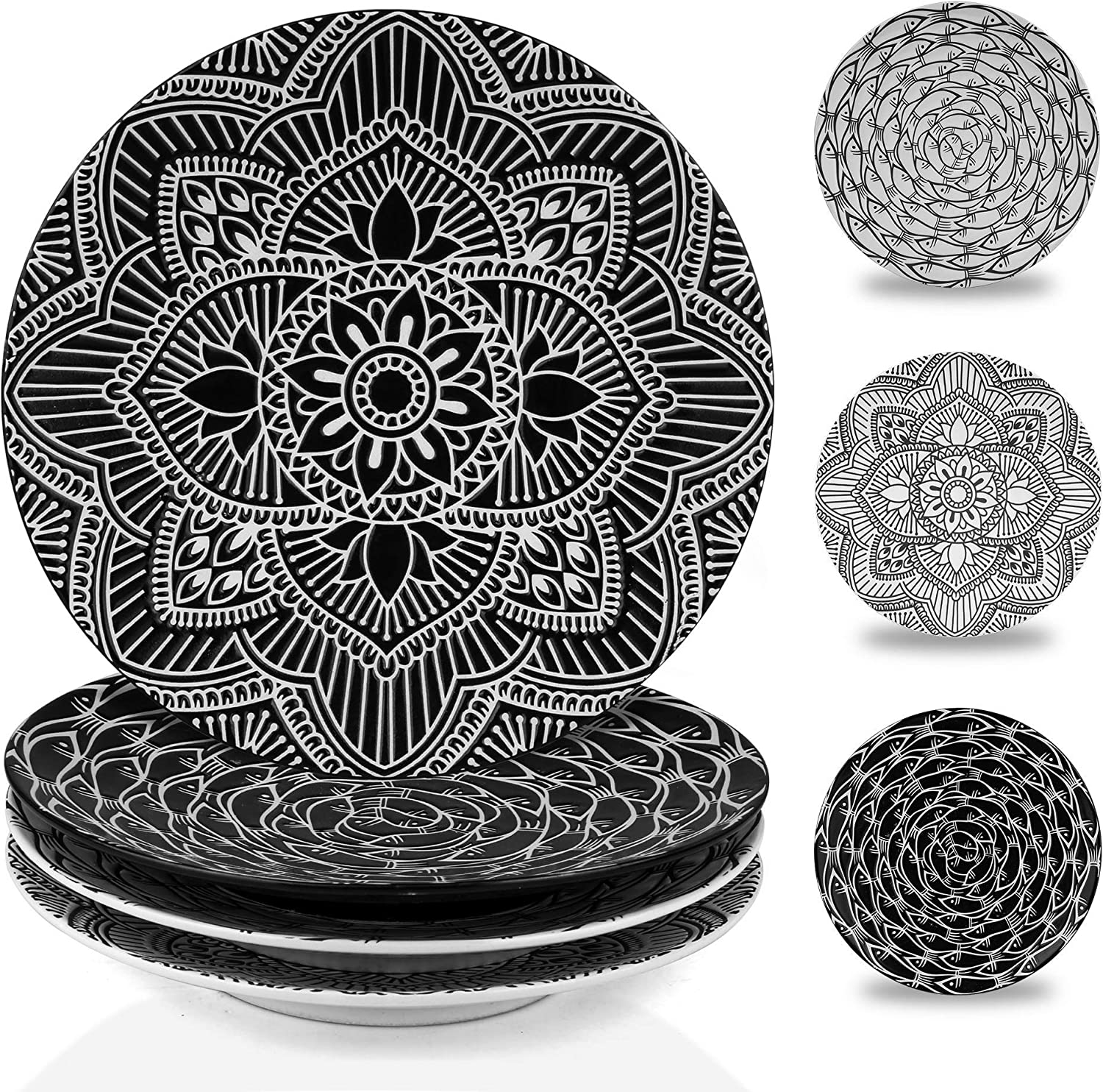 MARSTRACE 8.25 Inch Ceramic Salad Plates,Black and White Plates Porcelain Dinner Plates with Floral Pattern for Desserts Sandwiches Serving ,Set of 4,Microwave Dishwasher Safe