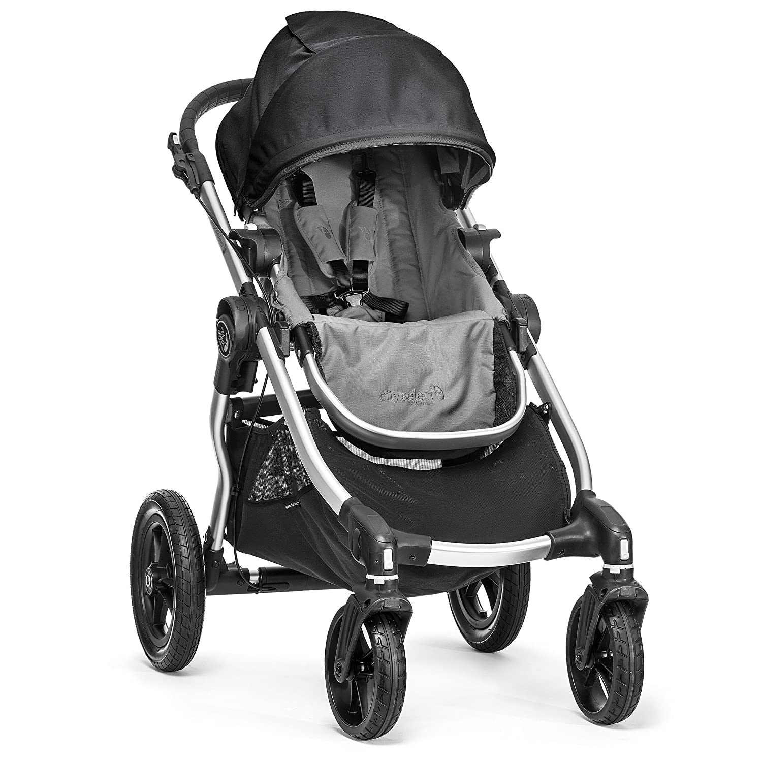 Baby Jogger City Select Stroller Baby Stroller with 16 Ways to Ride, Goes from Single to Double Stroller Quick Fold Stroller, Gray Black