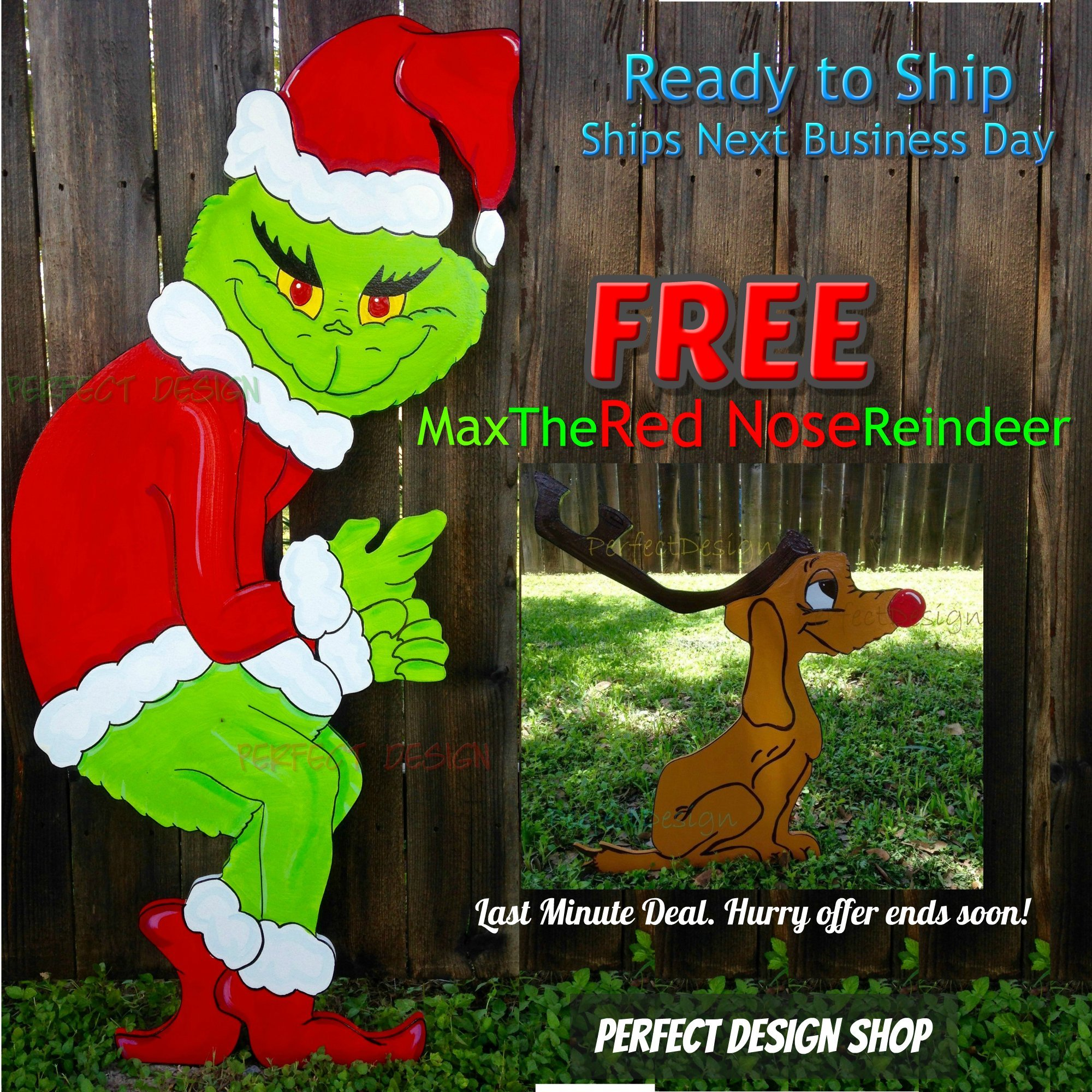 FREE MAX Grinch Stealing the Christmas Lights Handmade Wooden Yard Art Decor CUTE by Perfect Design Shop