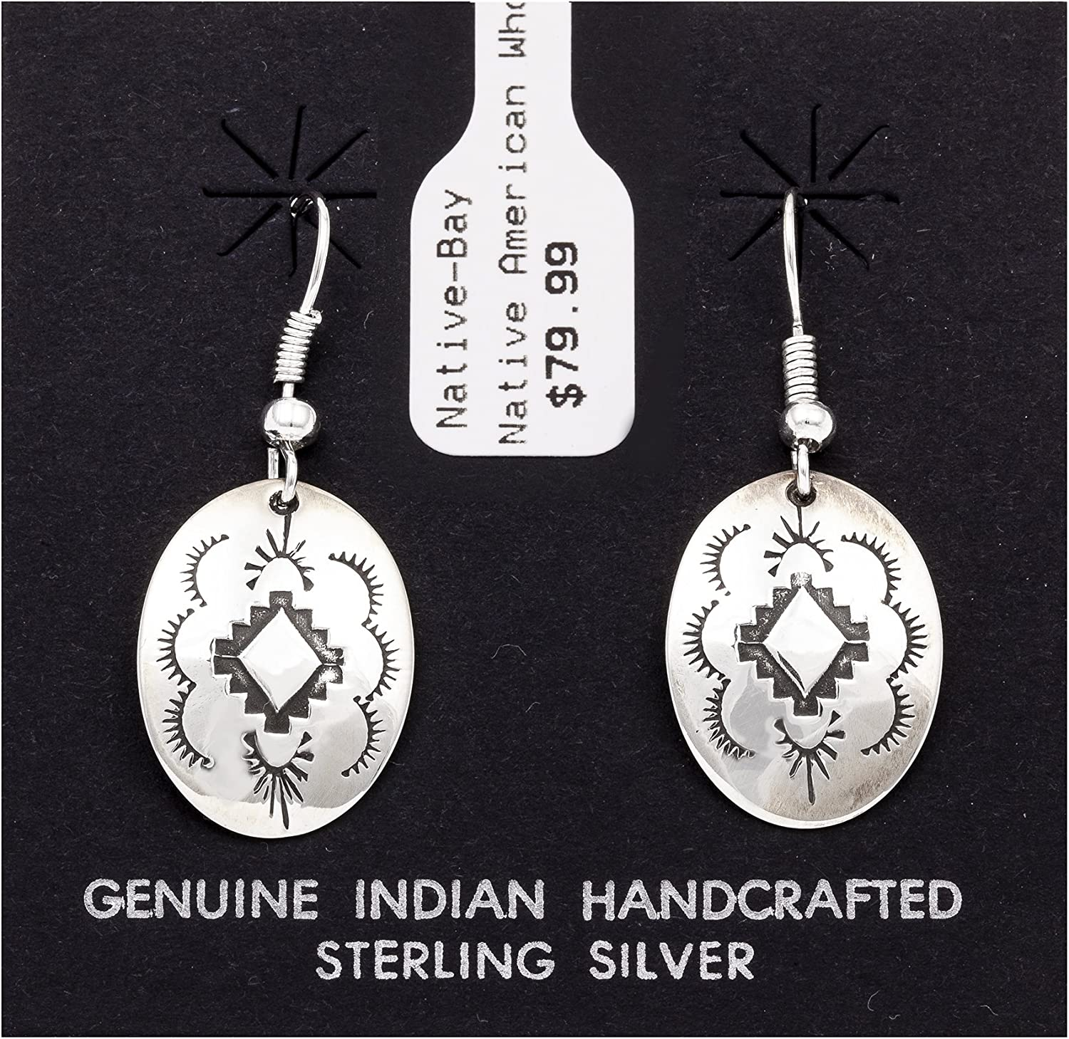 $80Tag Sun Diamond Starling Silver Certified Navajo Native American Earrings 27260-1 Made By Loma Siiva