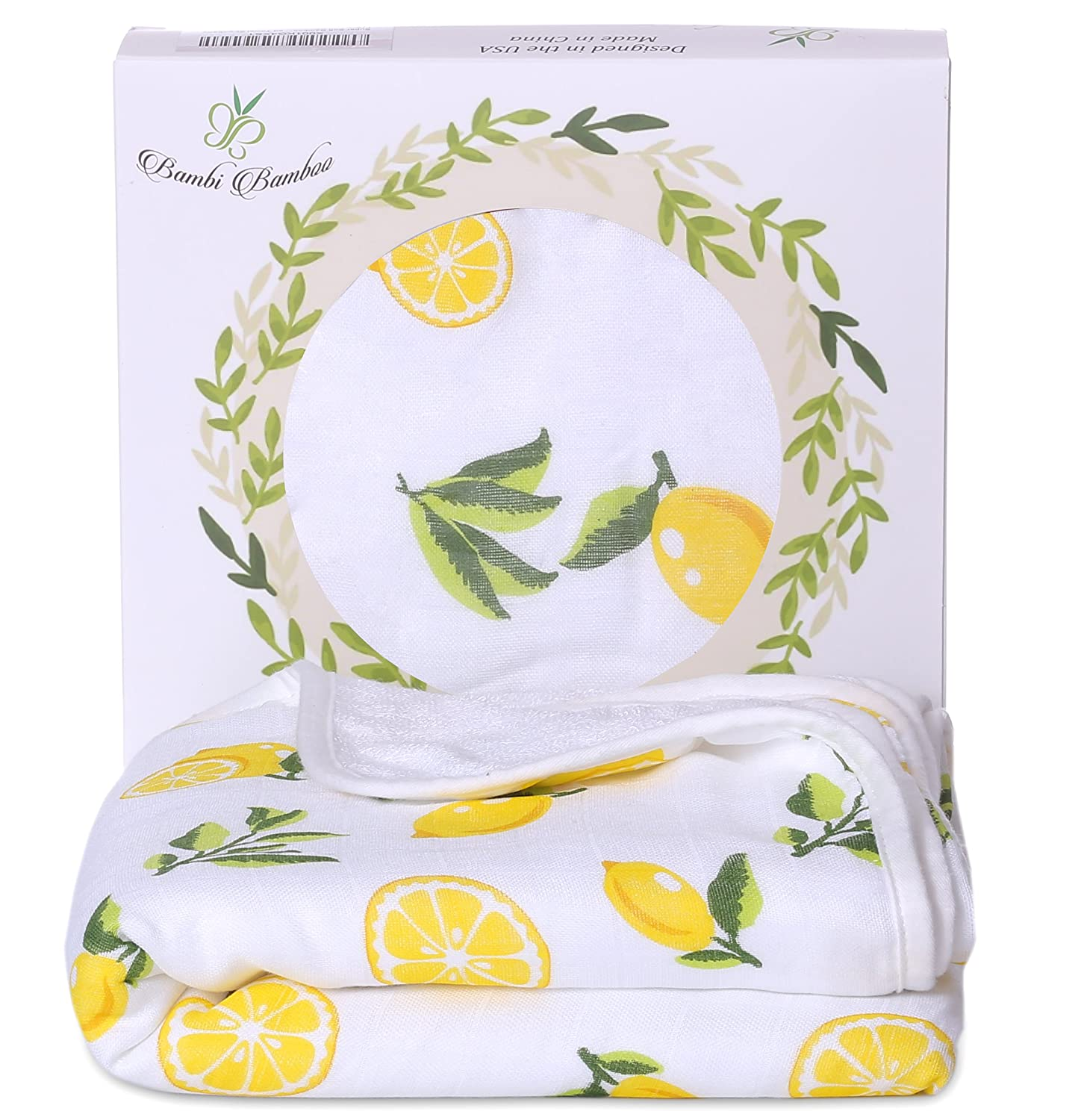 Bambi Bamboo Hooded Baby Bath Towel - Luxury Spa Super Soft for Sensitive Skin - Lemon, 2 Layers, Reversible - Absorbent, Keep Dry& Warm-Antibacterial,Hypoallergenic-Perfect Shower Registry Gift