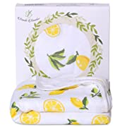Bambi Bamboo Hooded Baby Bath Towel - Luxury Spa Super Soft for Sensitive Skin - Lemon, 2 Layers, Reversible - Absorbent, Keep Dry&Warm-Antibacterial,Hypoallergenic-Perfect Shower Registry Gift