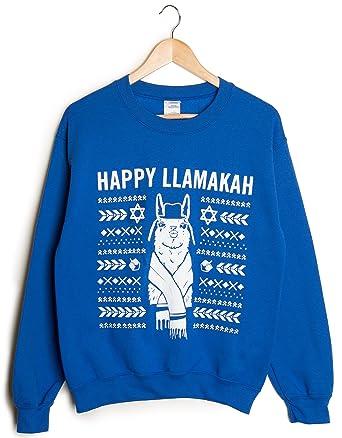 d53b37448 Ragstock Christmas Screen-Printed Crew Neck Sweatshirts (Small, Blue -Llamakah)