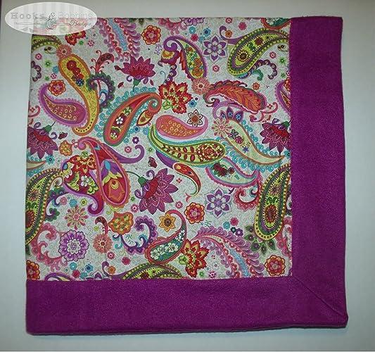 Amazon Handmade Baby Blanket With Matching Burp Cloths Paisley